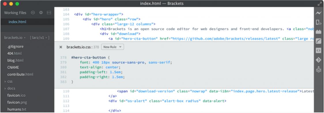 phần mềm soạn thảo PHP Brackets