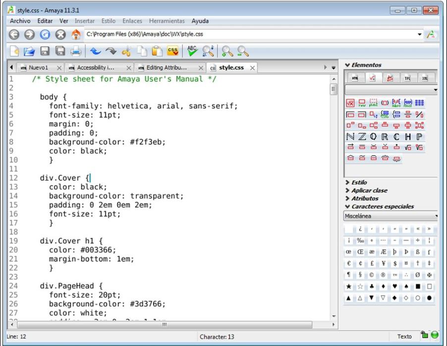 phần mềm thiết kế web Amaya