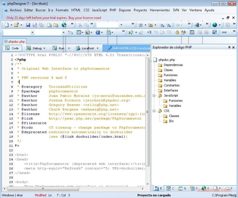 phần mềm thiết kế web PHP Designer