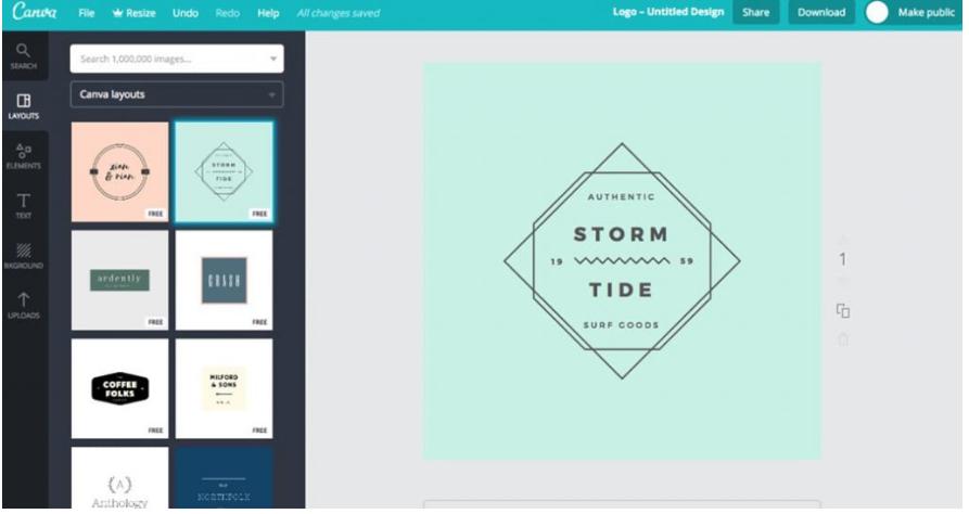 công cụ thiết kế logo trực tuyến canva